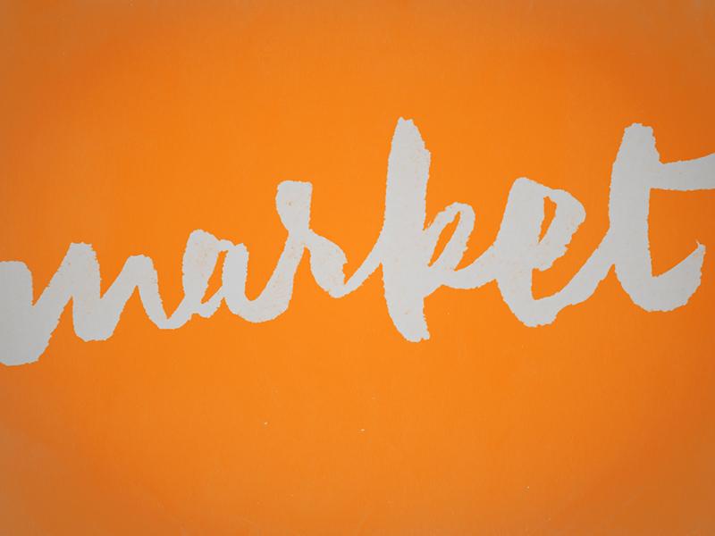 Market lettering script brush pen sketch
