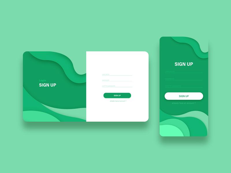 Green Wave Sign Up green ui green sign up form mobile web illustration interface userinterface uidesign uiux ui register signup