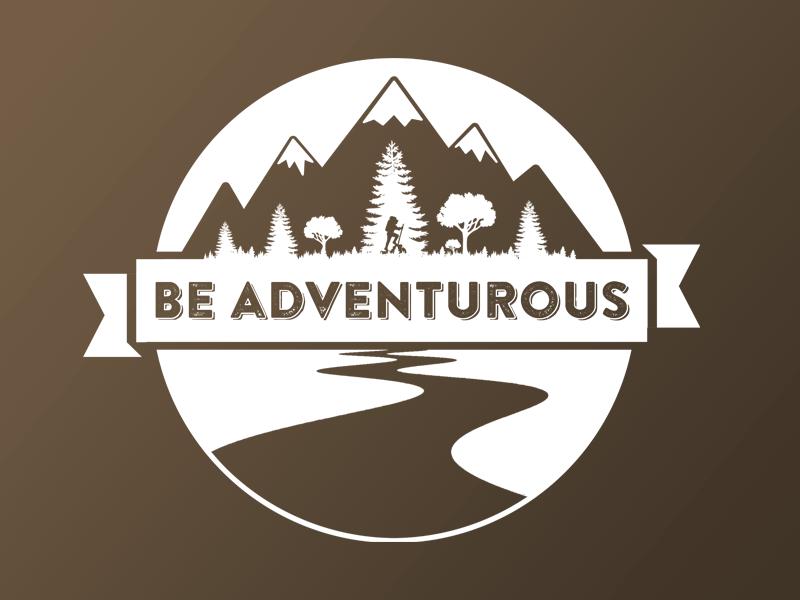 Be Adventurous summer outdoors hiking brandon printed sticker
