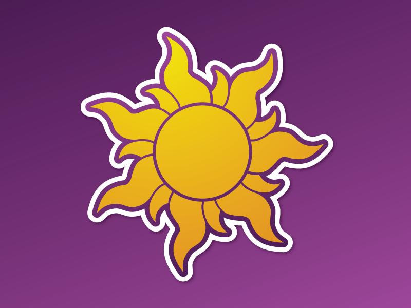 Tangled Sun rapunzel purple golden sticker sun disney tangled