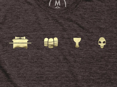 The MacGuffins! crystal skull of akator the holy grail sankara stones the ark of the covenant lucas movies foil printed t-shirt macguffins indiana jones indy