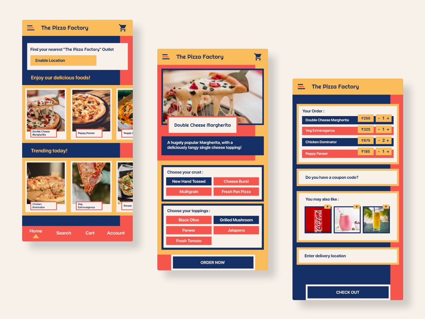 The Pizza Factory Mobile App branding design pizza menu pizza hut pizza food and drink food app foodie ios app ios android app design android app android