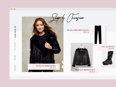 Shop by Occasion landing page design fashion website ui