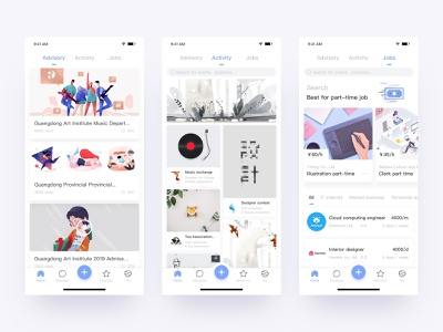 Connecting college school app white ui ux design uidesign