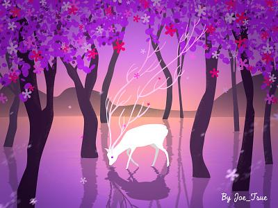 Dreamy deer illustration dreamy deer forest
