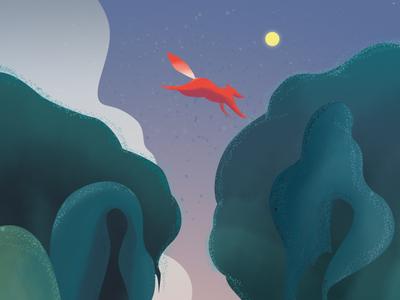 Jump illustration night story fox
