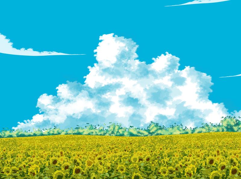 Sunflowers Field sunflower cloud sky vector hill mountain tree design landscape landscape design srabon arafat illustration