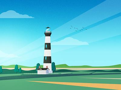 Bodie Island Lighthouse island lighthouse logo vector illustration illustration art cloudy field lighthouse light cloud sky vector hill mountain tree design landscape landscape design srabon arafat illustration