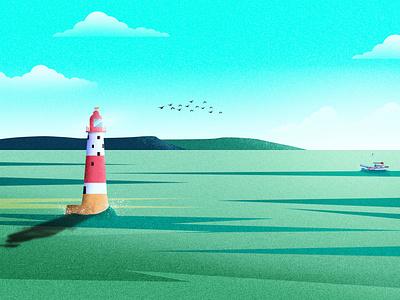 Beachy Head Lighthouse light sea illustration ship illustration clouds illustraion illustration art lighthouse sky vector hill mountain tree design landscape landscape design srabon arafat illustration