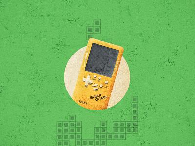Brick Game Handheld game design vintage texture vector art illustration art illustraion texture vintage old vintage old style console vector srabon arafat illustration