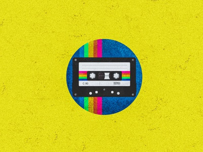 Cassette tape rainbow illustrations texture vintage badge vector illustration vector art old texture old fashioned old vintage design vintage cassette player cassette tape vector srabon arafat illustration