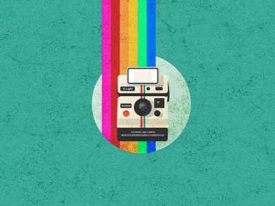 Polaroid Camera vintage illustration texture vintage texture 90s rainbow instagram logo instagram camera icon polaroid vector design landscape landscape design srabon arafat illustration