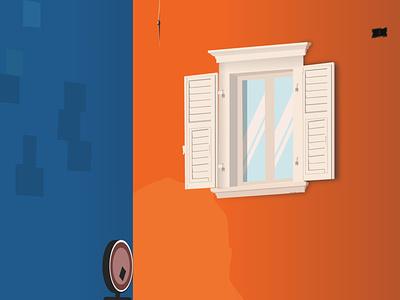 Bulding Side 2 tree brick wall sign window vector landscape design landscape design srabon arafat illustration