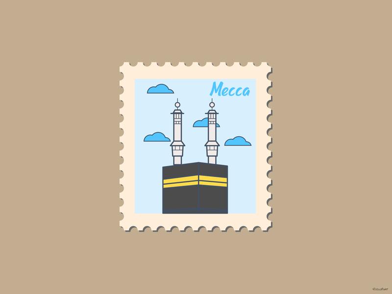 Weekly Warmup | Mecca Stamp design landscape landscape design vector logo branding kaaba sharif kaaba sharif mecca stamp stamp mecca srabon arafat illustration