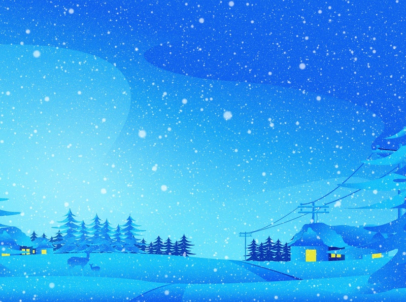 Winter lamp post wire snow falling snow house home deer winter sky vector hill mountain tree design landscape landscape design srabon arafat illustration