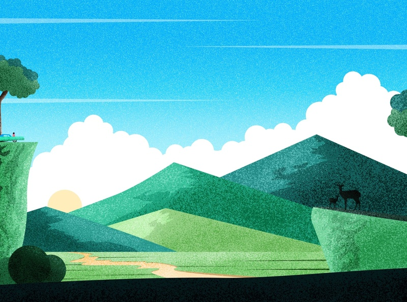 Nature is life - 3 illustration art mountain road road clouds old car car deer flying bird sun cloud sky vector hill mountain tree design landscape landscape design srabon arafat illustration