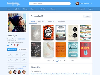 User Profile ~ Bookshelf profile book bookshelf interface icons pagination navigation search full attachment feed