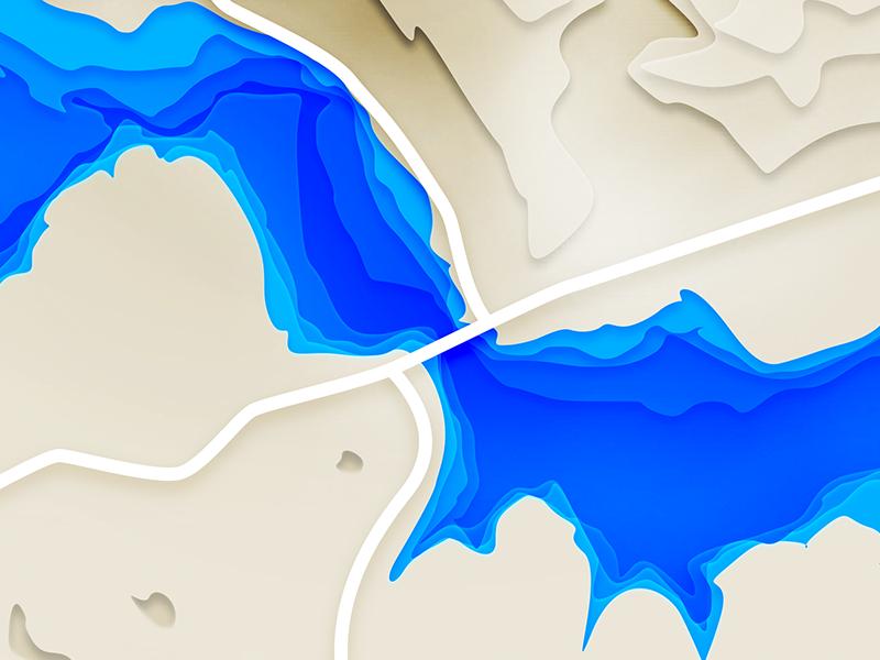 Build a Bridge water topographic shadows greyscale experiment depth deep crisis background