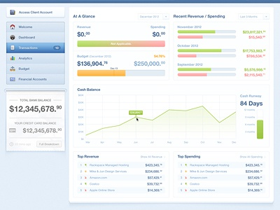 Dashboard dashboard money ui ux interface graph financial cash balances revinue spending slip receipt navigation small clean blue