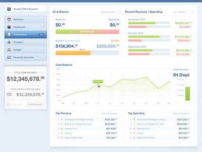 Dashboard dashboard money ui ux interface graph financial cash balances revinue spending slip receipt navigation small clean blue