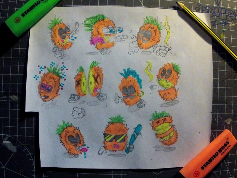 Pineapple Character Study 420 weed dealer chatacters attitude neon highliter sketch pineapple