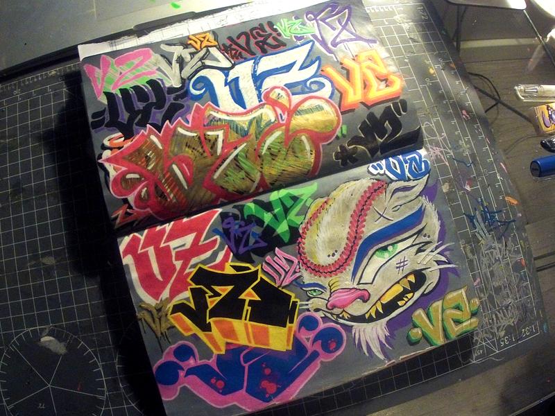 #INKTOBER Day 30: 'VZ' & Baseball Cat shady figures snazy fonts vomit zombie zombie vomit typograffiti typography graffiti cat baseball throwup ink inktober 2018 inktober