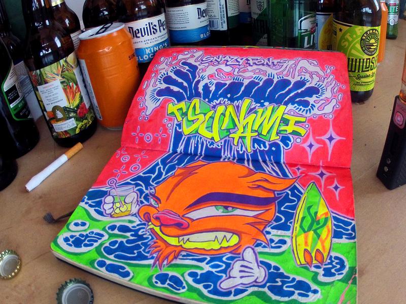 #INKTOBER Day 31: Tsunami Party snazy fonts neon sketchbook blackbook ink party tsuname inktober2018 inktober