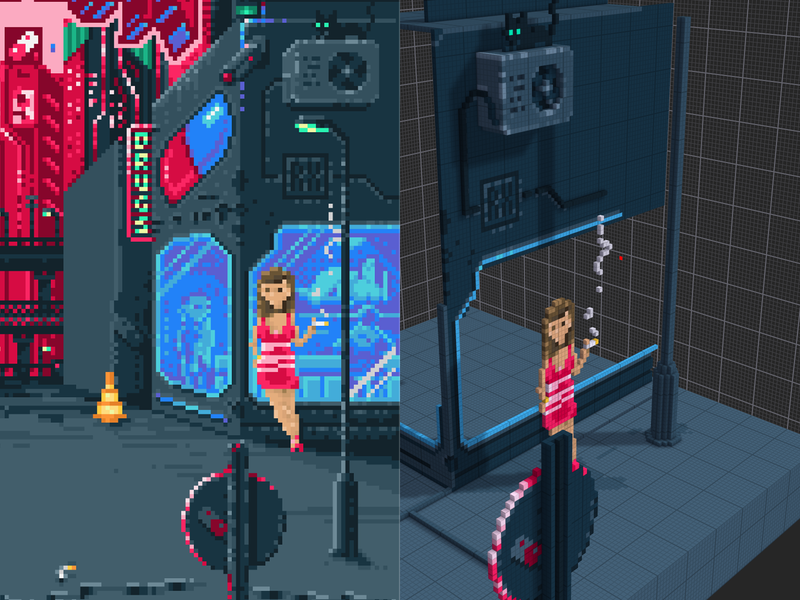 Pixels & Voxels magicavoxel 3d cover art rxsolo pixelart