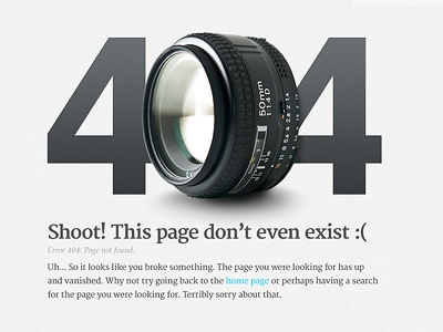 404 Page for a Photography site 404 error page exist photo photography blog wordpress website camera lens 50mm