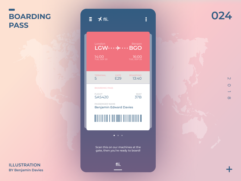 Daily UI 024: plantlife. Boarding Pass boardingpass boarding ui app mobile design dailyui