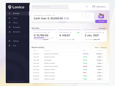 Lonico loans — Dashboard instalment schedule history website web user system desktop experience management money credit loan fintech finance ux ui interface dashboard design