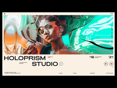 Holoprism Studio web design prismatic holo prism woman website photography ui branding typography interaction animation fashion modern webdesign glitch agency studio interface web