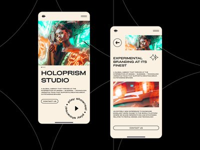 Holoprism Studio mobile typography web user experience responsive mobile neon glitch photo modern photography studio agency branding fashion interface ux ui design website