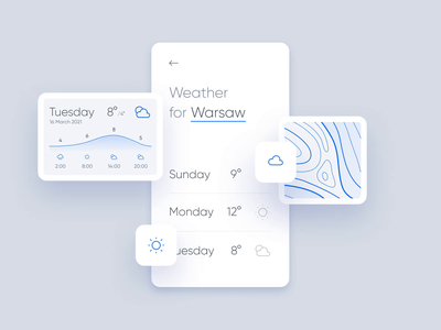 🌦️ Weather App Components cloud rain sun forecast weather app mobile component ui interface ux interactive icon motion animation interaction week sunday clean modern