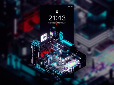 Łódź City - Central cyber network iphone scifi app central light poland lodz łódź futuristic design neon screen block mobile future city render 3d