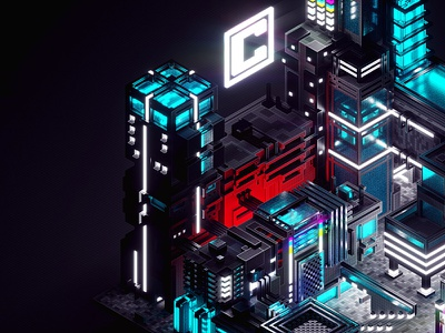 First shot of Łódź Central 2100 illustration łódź city illustration central futurist design cityscape poster voxel magicavoxel 3d isometric city futuristic