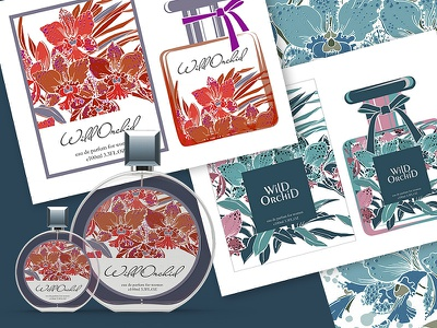 Design for the packing of the perfume orchid wild illustration vector perfume packing