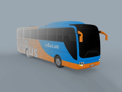 3D Bus model for inBus.ua render 3dsmax 3d identity advertising bus graphic branding brand design