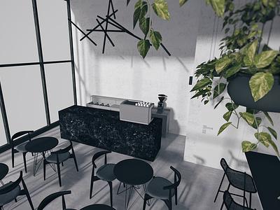 Coffee shop architecture interior coffeeshop coffee sketchup render 3d