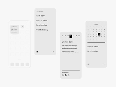 therapy diary app concept app icon widget app ui day emotions minimal calendar therapy diary note app concept app ux ui brand design