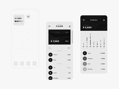 bank app concept payments pay banking widgets money grey black minimal icon logo branding ux ui ui  ux analytics app concept app mobile banking bank