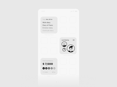 widgets app concept №2 logo design branding ux ui minimal note diary app mobile banking videochat app ios14 iphone app concept widgets