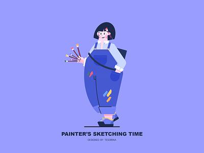 Painter's Sketching Time pigment paintbrush brush sketch jeans color painter girl illustration photoshop