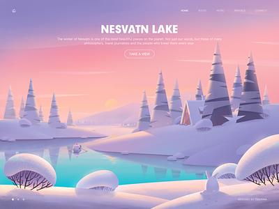 Whisper Of The Winter Lake tesorina 马阿柴 web rabbit boat snow bush sky lake mountain sunset winter cabin pine water illustration photoshop