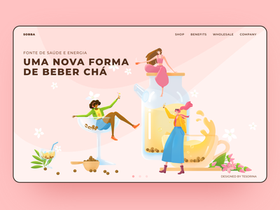 Web Design-Illustration for Buckwheat Tea healthy yoga tea bottle package buckwheat cup buckwheat tea drinks 马阿柴 radesign vector branding web ui tesorina design girl illustration photoshop