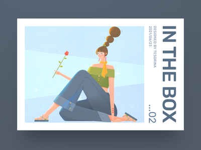 In The Box 2- Girl With Rose triangle rest sit box geometric rose 马阿柴 tesorina design girl illustration photoshop
