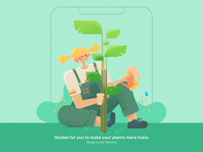 Guide Page For A Gardening App 1 garden app green radesign rdd character guide page plant ui 马阿柴 tesorina girl design illustration photoshop