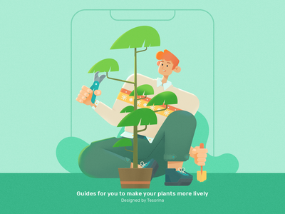Guide Page For A Gardening App 2 plant guide page character rdd radesign green app garden boy ui 马阿柴 tesorina design illustration photoshop