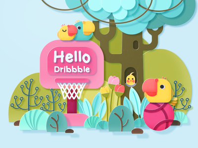 Hello Dribbble! plants hellodribbble parrots cockatiel birds colorful photoshop illustration design