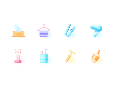 Icons-Bathroom-2 massage stick towel hair dryer lotion toothbrush tissue bathroom icon ui photoshop design